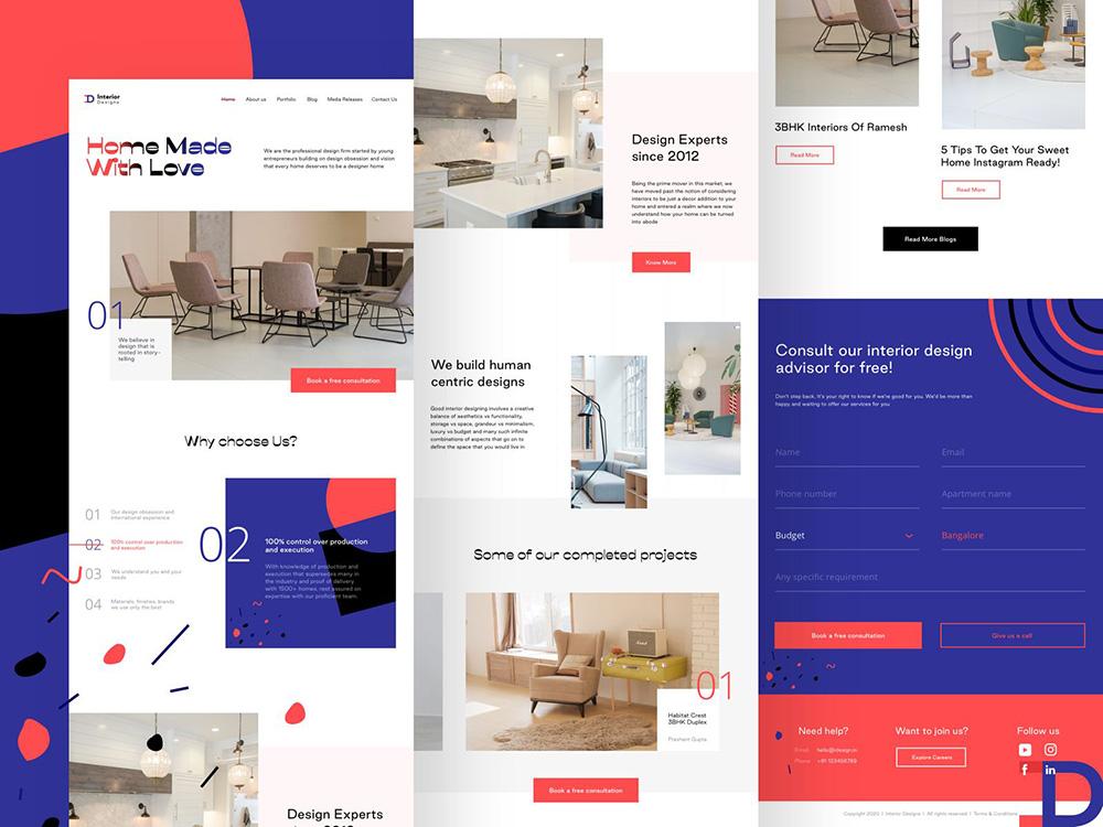 12组简洁时尚的家具网页设计