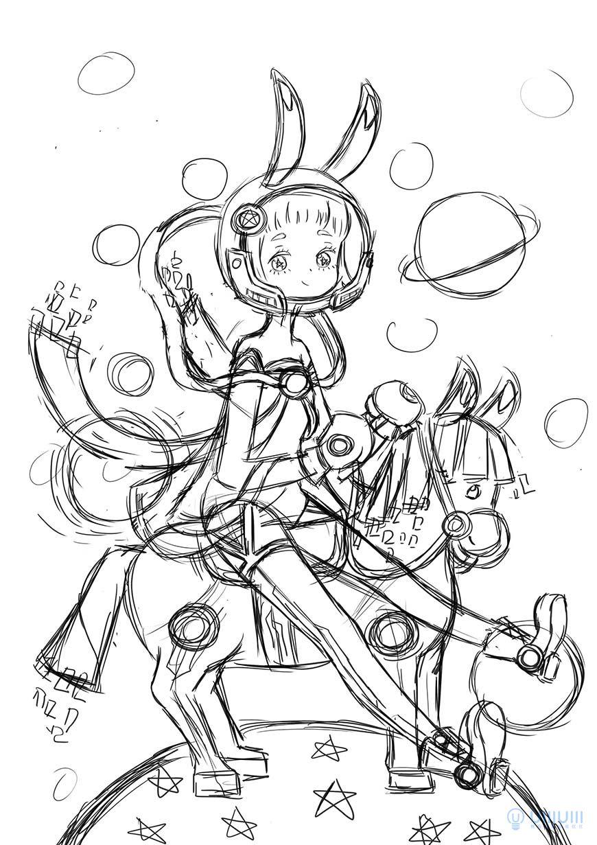 手绘教程!登上月球梦幻风格插画
