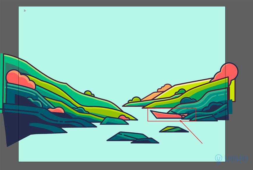 AI教程!描边风格野外风景插画!