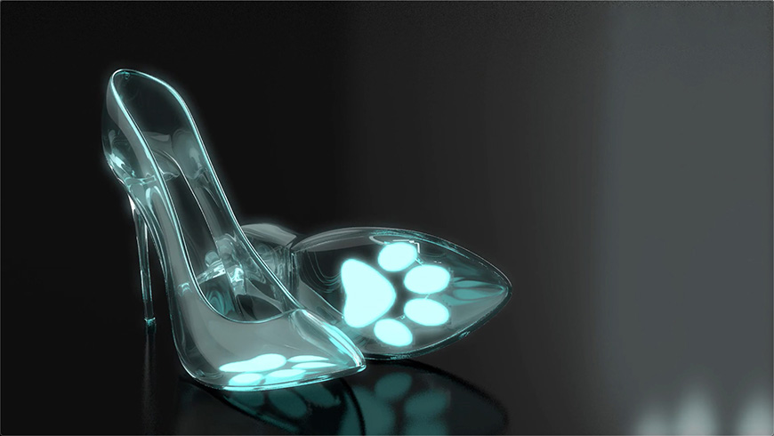 C4D教程!来做一双可爱的猫爪爪水晶鞋吧!