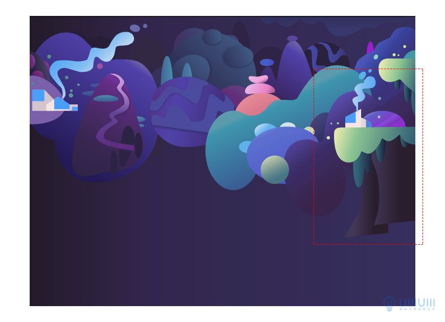 AI教程!教你绘制梦幻渐变风场景插画