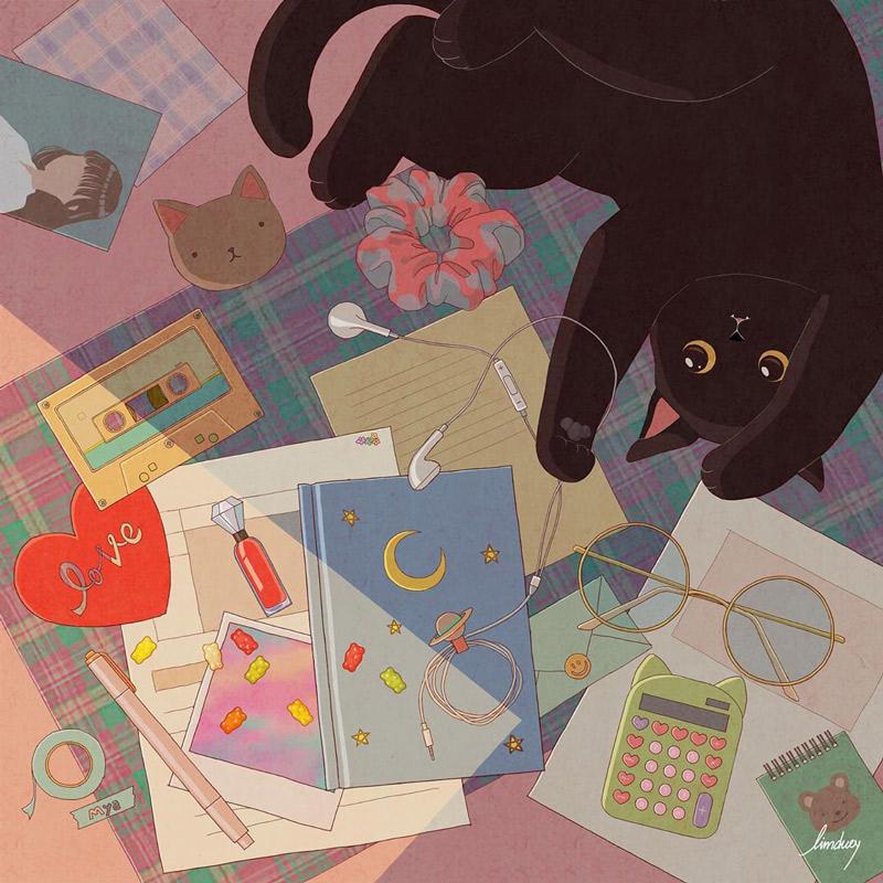 吸猫!插画师 limduey 绘制的明信片插图