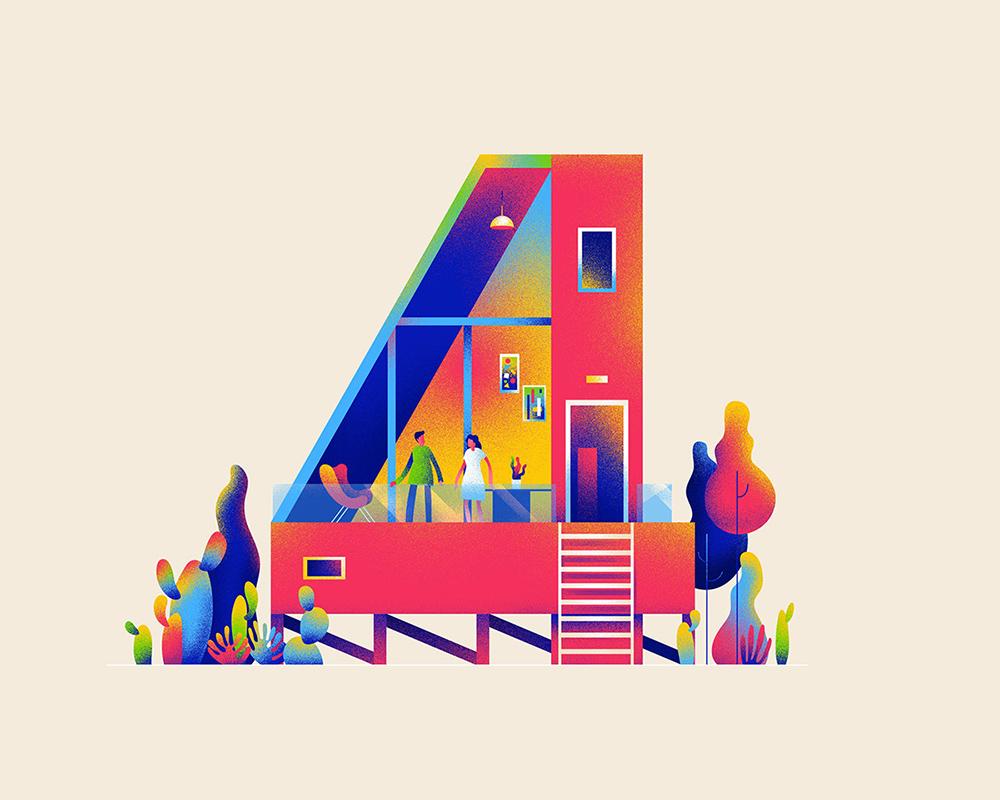 建筑构成!10款插画数字字体设计