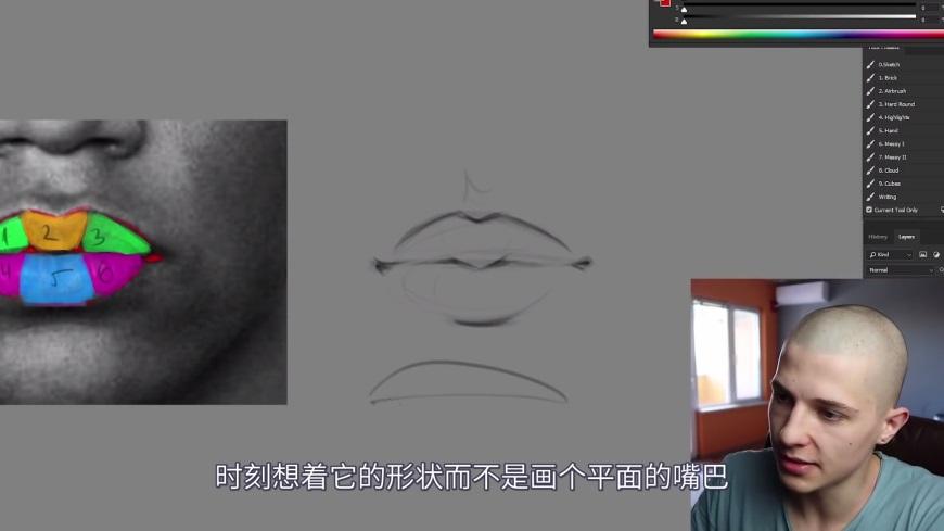 手绘讲解!如何绘制饱满且真实的厚涂嘴唇?(含参考图下载)