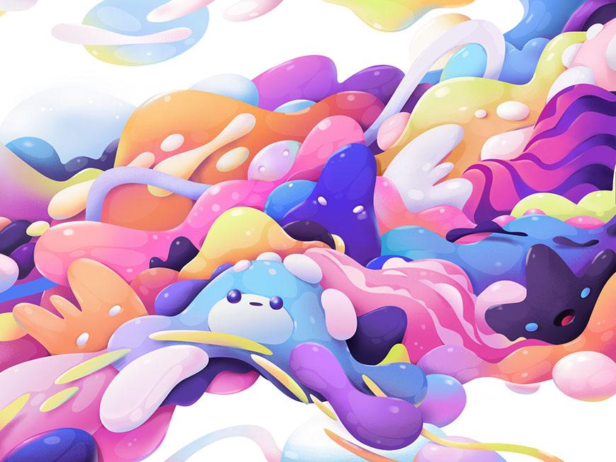 AI教程!超可爱果冻质感小怪兽插画
