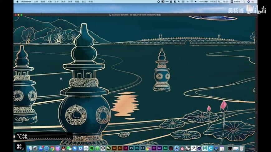 AI教程!双飞燕主题国风插画的创作思路