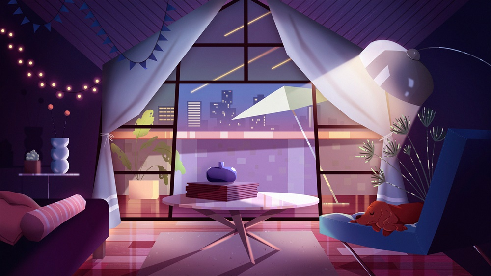 色彩光感十足的9款卡通插画