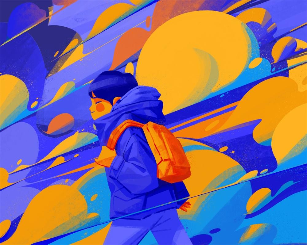 12款以蓝色调为主的插画作品
