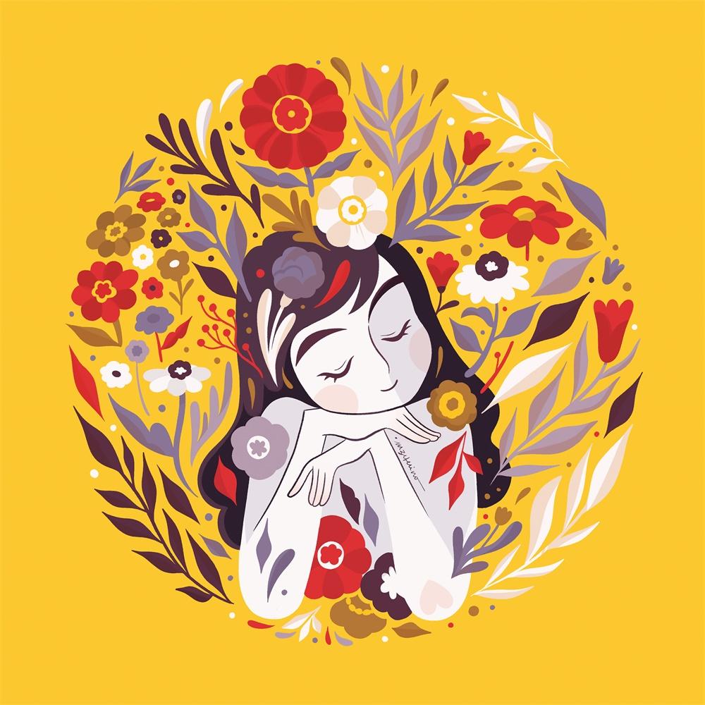 12款以爱心花卉为主的扁平插图