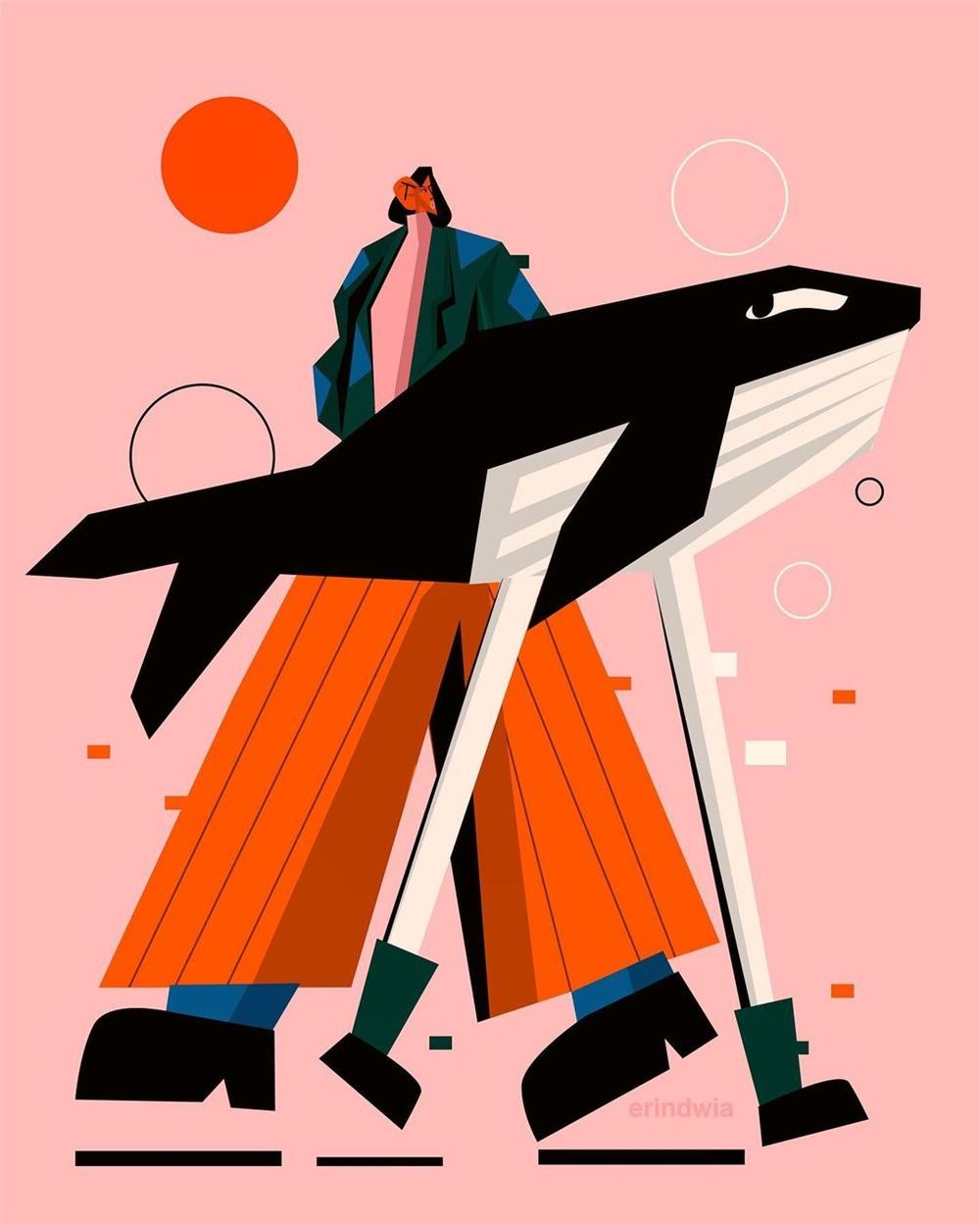 20款几何图形组成的人物插画设计