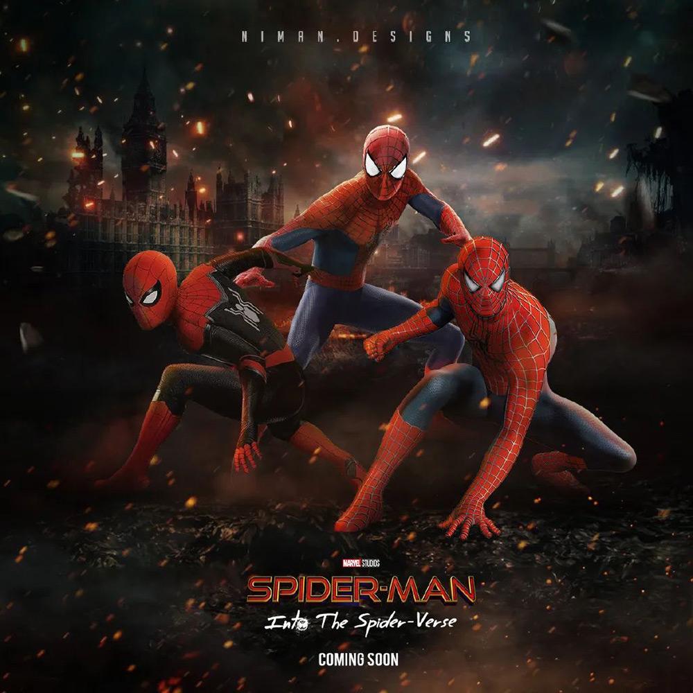 「三代蜘蛛侠合体」艺术海报作品