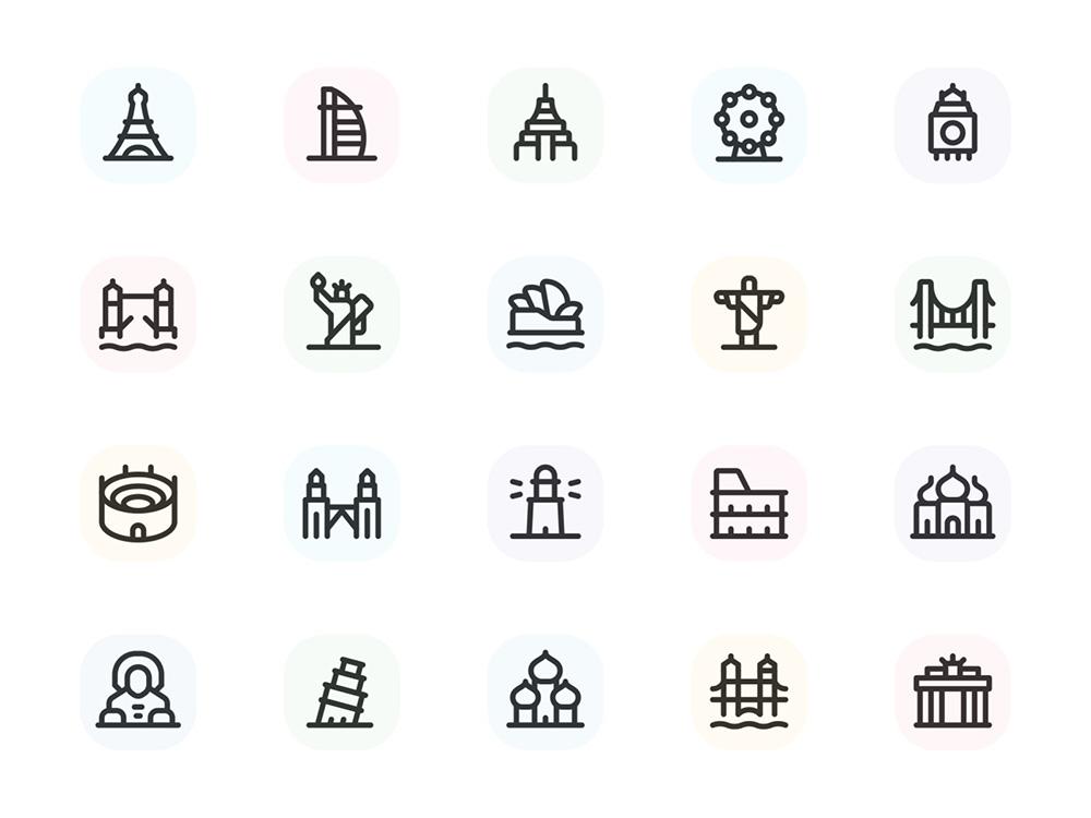 12张简洁线性图标设计