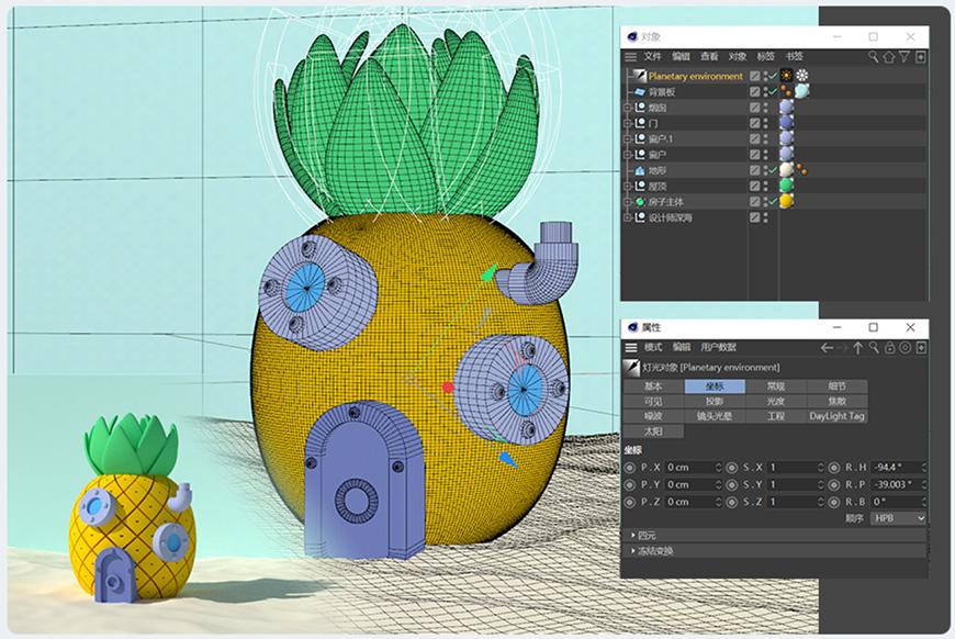 C4D教程!教你制作海绵宝宝的菠萝屋(含源文件及贴图下载)