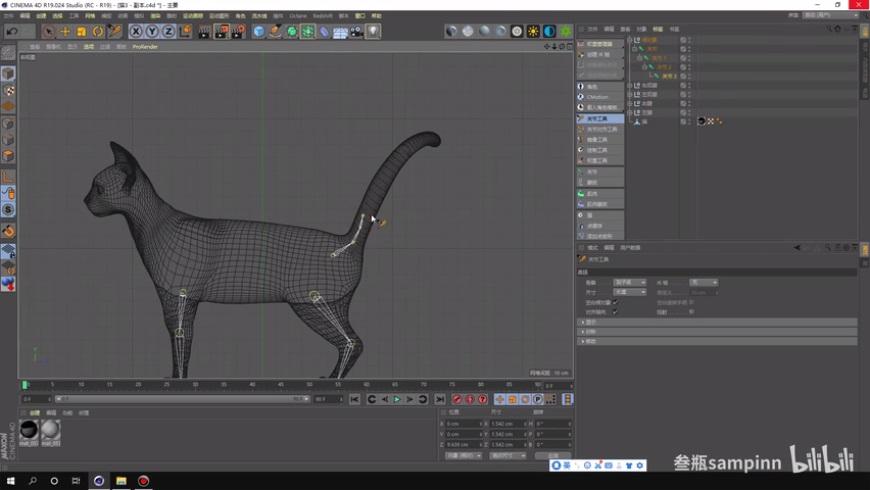 C4D教程!如何帮可爱猫咪绑骨?