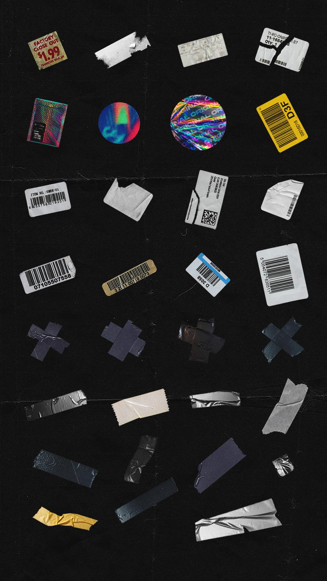 设计资源!31款平面海报设计素材(胶带/贴纸/标签)免费打包下载
