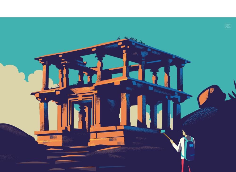 复古色调!印度风情插画