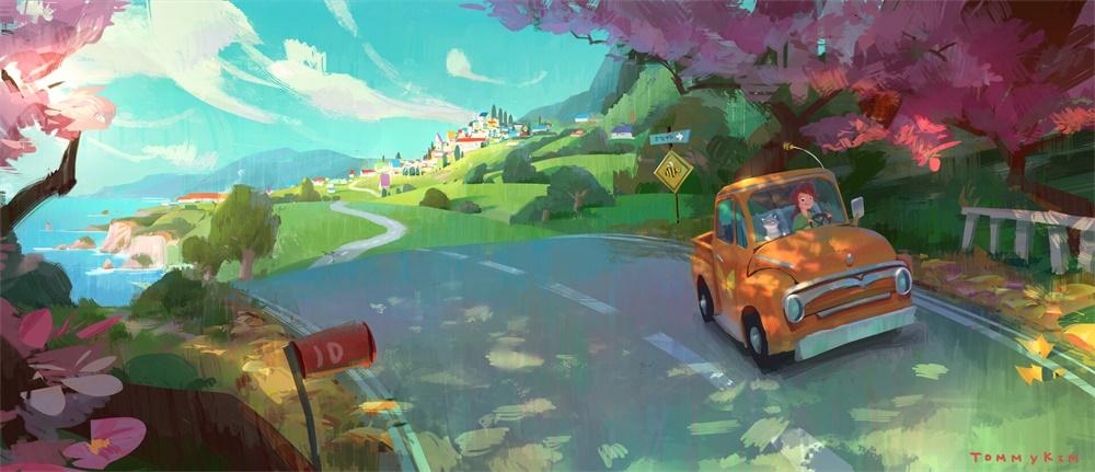 10款充满萌趣的色彩风景手绘