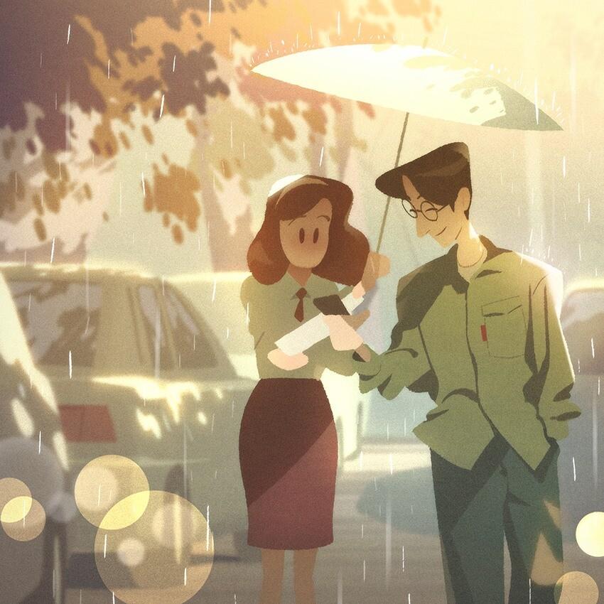 16款生活中温情的光影插画