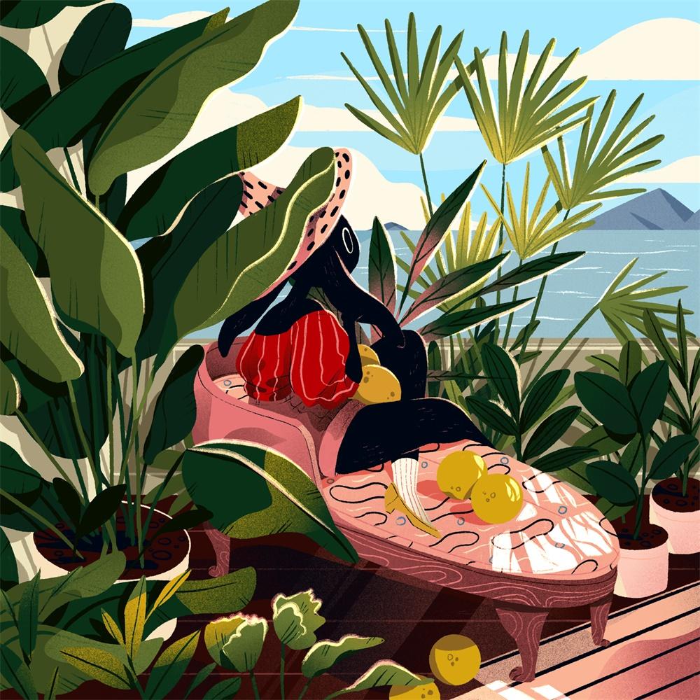 地中海的生活!非常有趣的景观插图