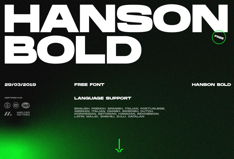 免费字体下载!一款力量大胆几何感强的英文字体-Hanson Bold