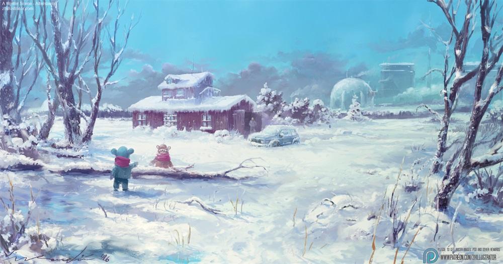 10款水彩质感的大场景插画