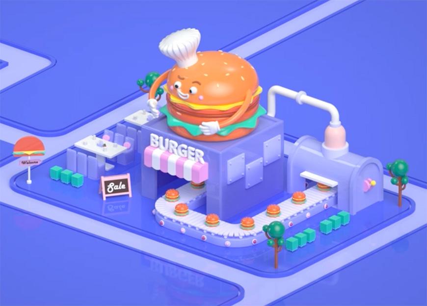 C4D教程!教你制作卡通汉堡商店!