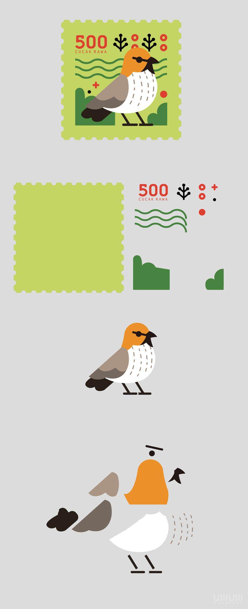 AI教程!手把手教你绘制小鸟邮票!