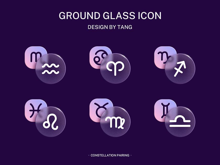 AI+PS教程!教你制作毛玻璃质感星座配对图标!