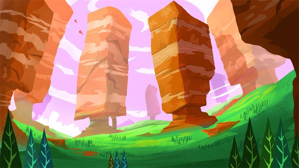 16款色块叠加的自然景观插画