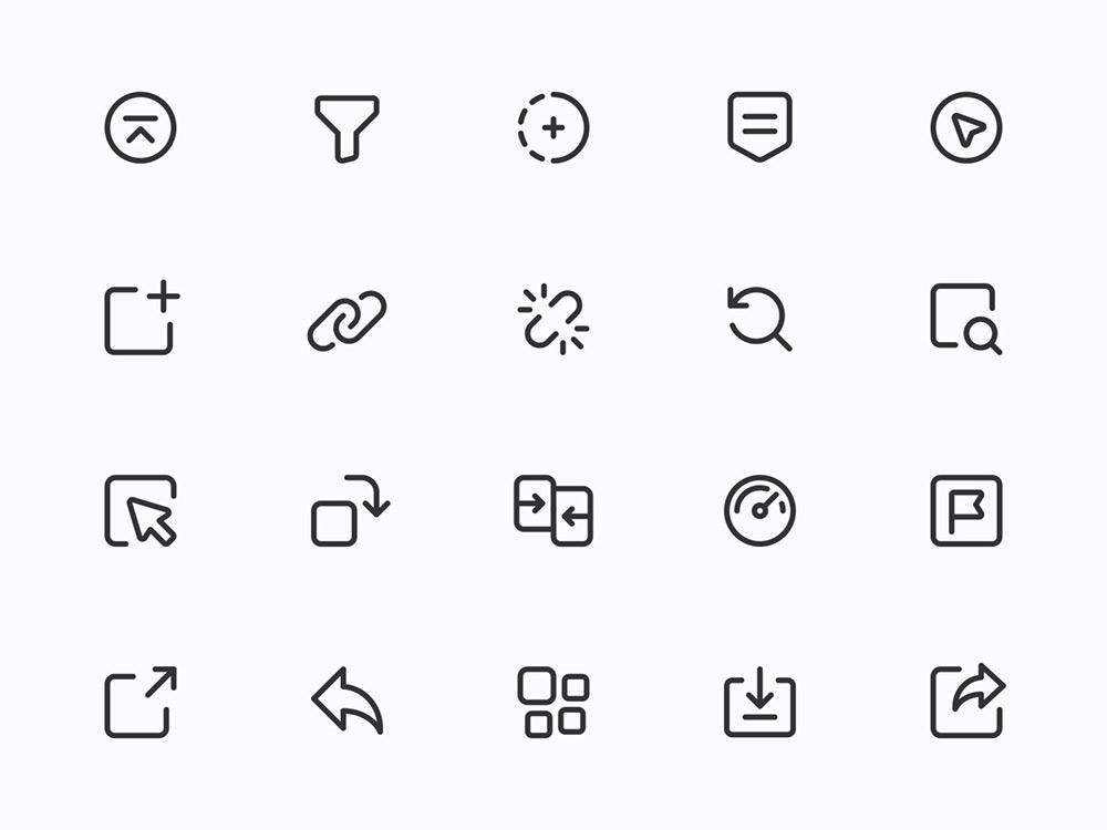 12组简洁线性图标设计