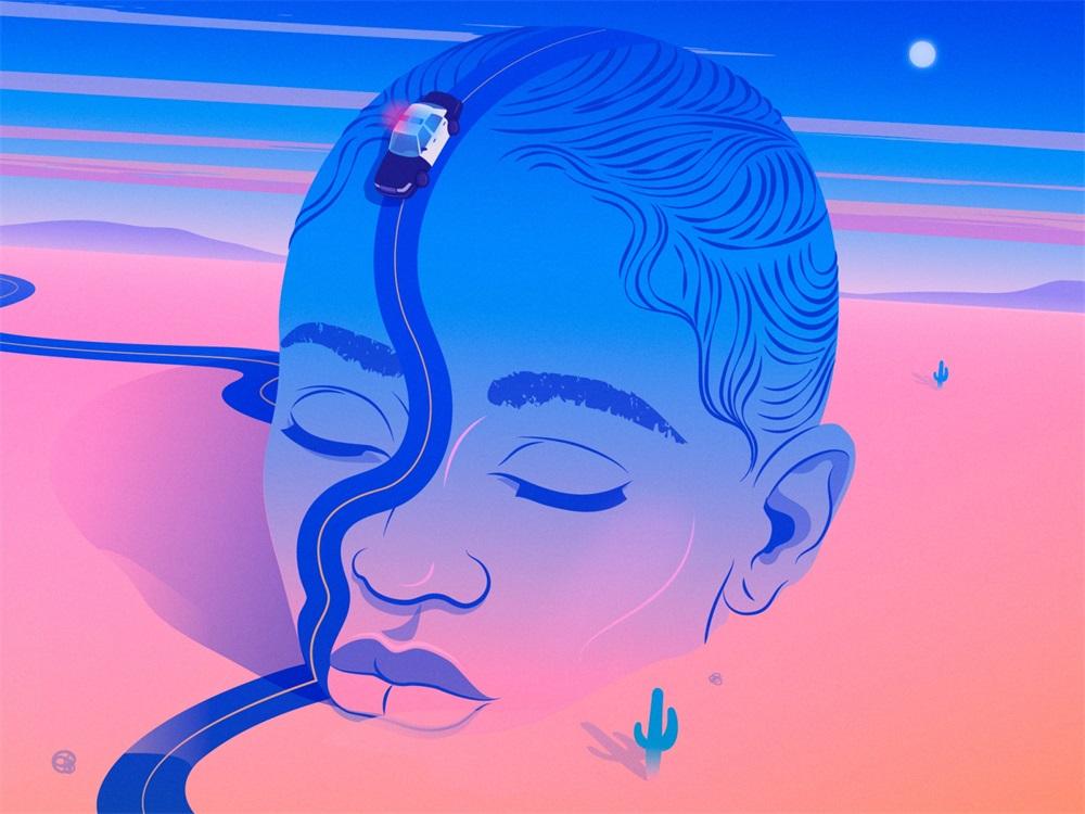 蓝粉色调!9款创意概念插画设计