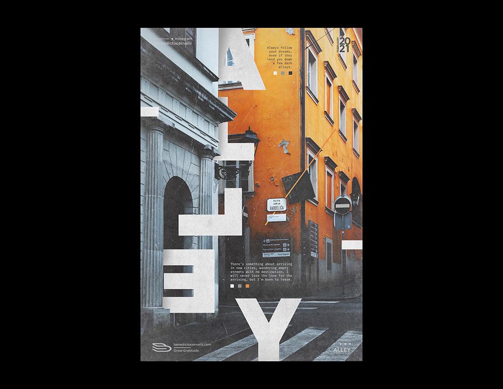 一组字体与人物结合的海报设计