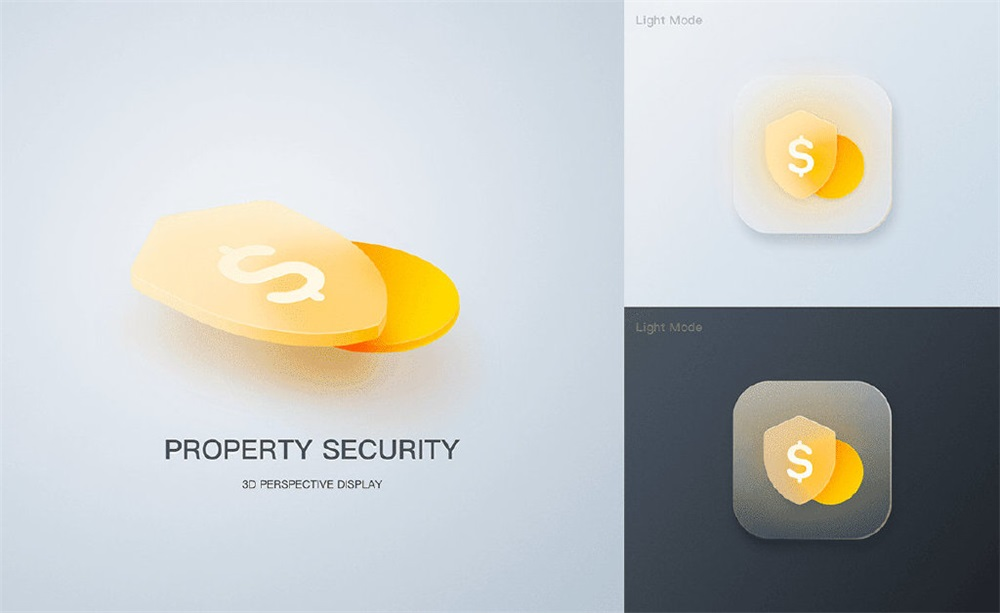 安全主题磨砂玻璃效果图标