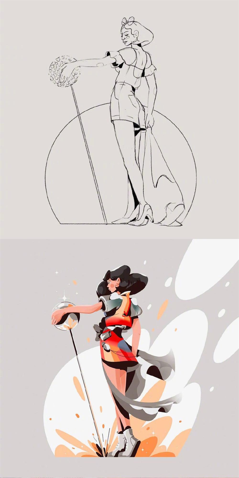 插画师 Nuria Boj 笔下的草稿和成稿