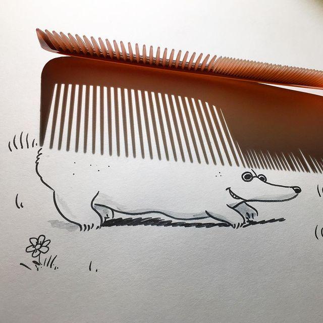 巧妙的光影创意!简单有趣的线条插画