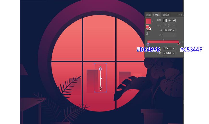 AI教程!教你制作渐变风格窗外风景插画!