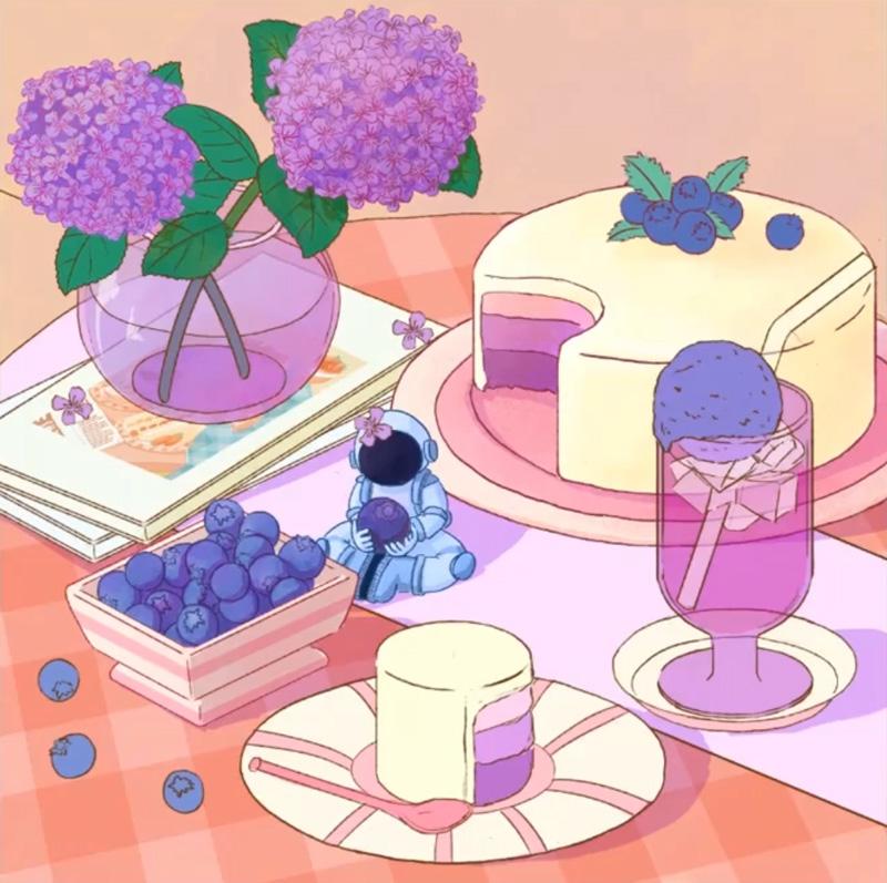 训练营公开课!蓝莓蛋糕插画的完整绘制流程