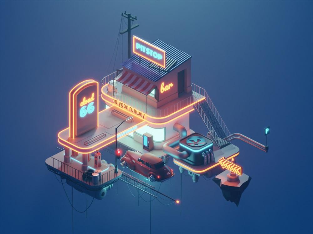 未来感十足!插画家 Roman Klčo 的3D场景练习作品