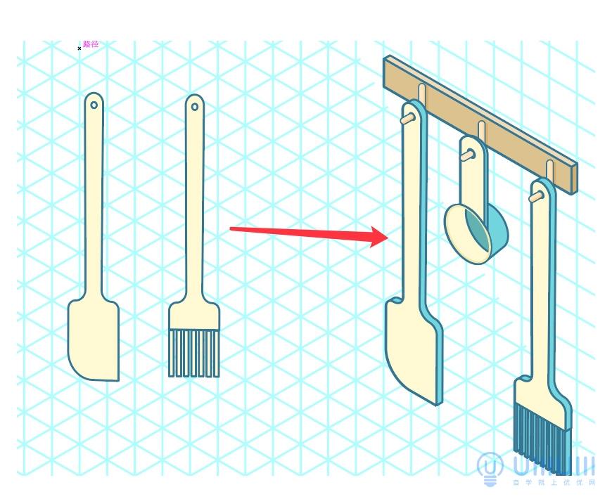 AI教程!2.5D风格烘焙厨房插画