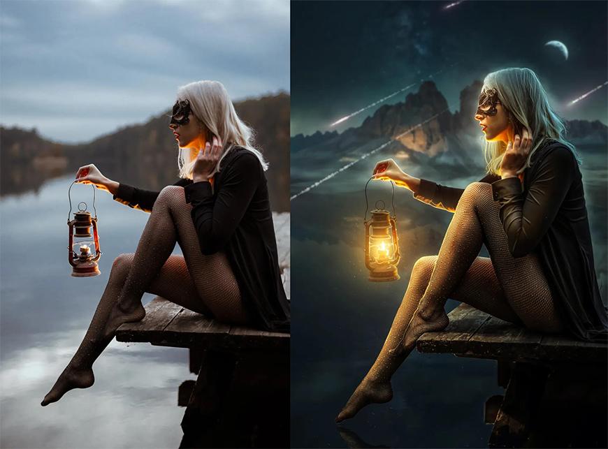 PS后期教程!换个背景调个色,让照片瞬间拥有神秘氛围感!
