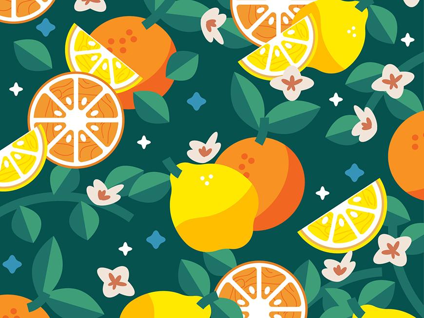 AI教程!学习绘制夏日水果主题矢量插画卡通壁纸