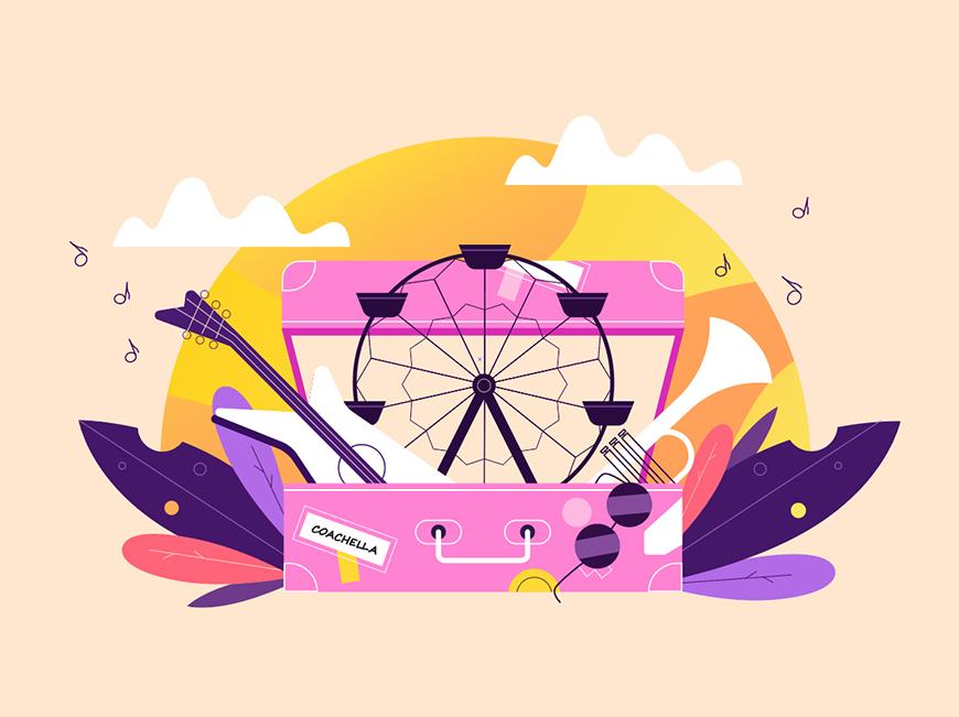 AI教程!音乐行李箱主题扁平插画