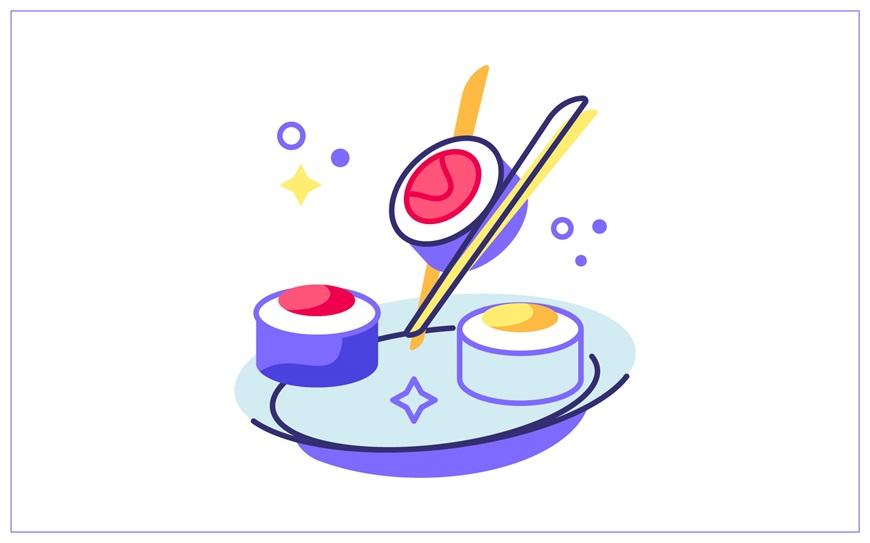 AI教程!学习绘制粗描边风格美食图标插画