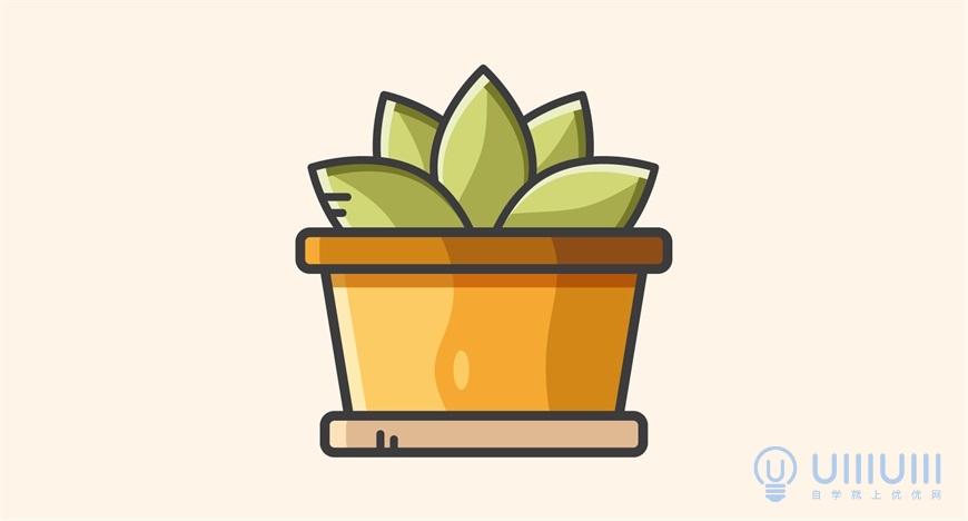 AI教程!可爱的矢量描边风格植物插画