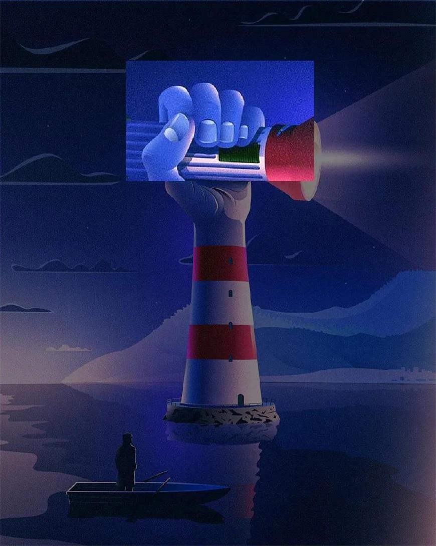 AI教程!创意手电筒灯塔插画设计教程