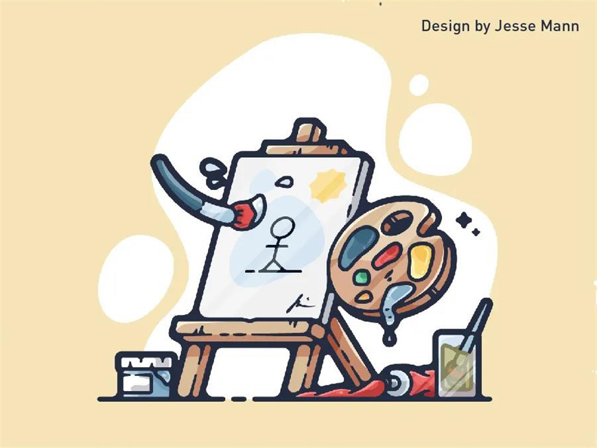 AI教程!二维视角怎么画三维效果?-描边画具设计教程