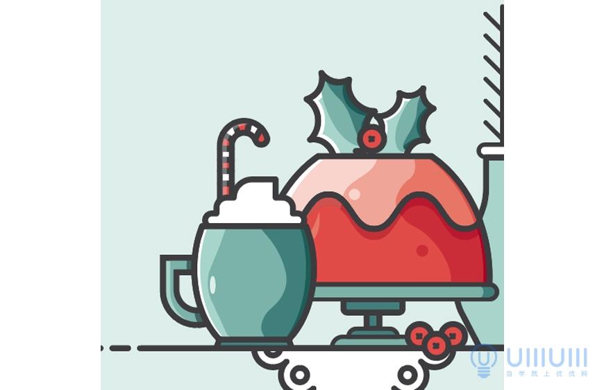AI教程!超简单的蛋糕甜品主题描边矢量插画