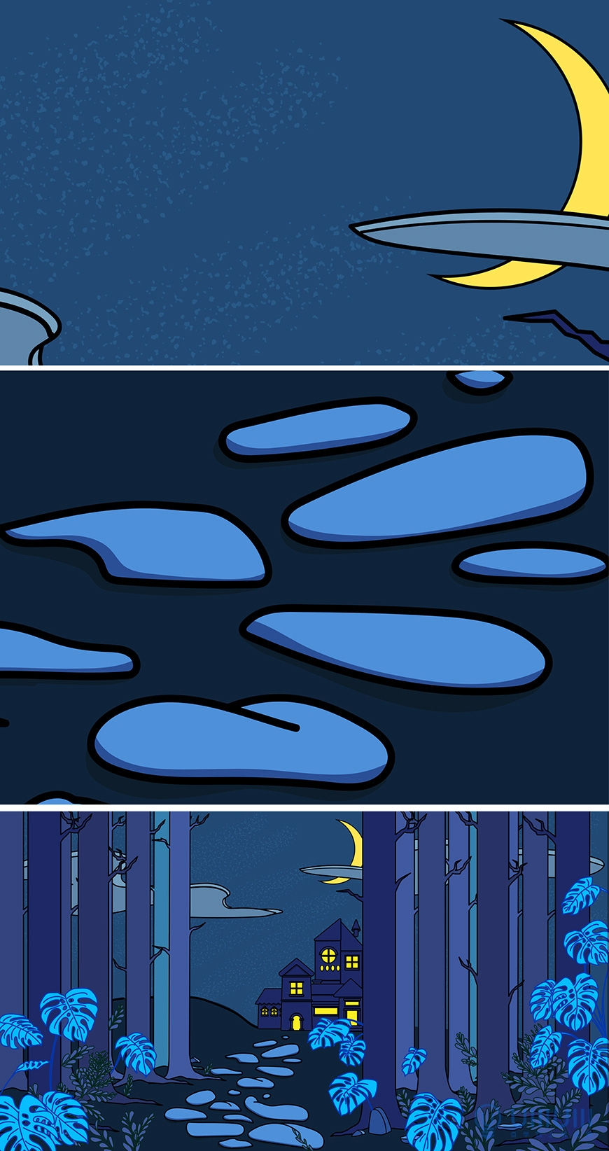 AI教程!卡通漫画感萤火月夜矢量插画绘制思路拆解