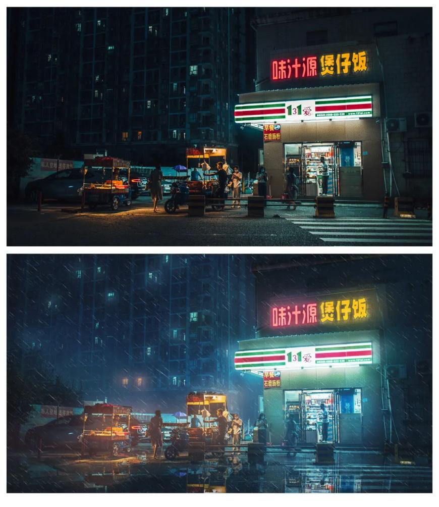 PS教程!学会这个赛博朋克CG感修图技巧,便利店秒变夜之城!